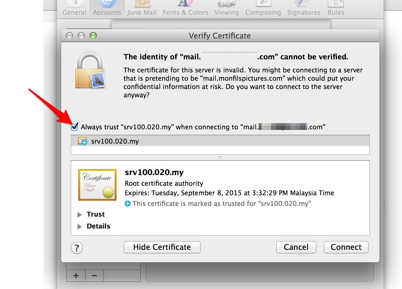 Creating mac mail account knowledgebase o2o digital after that it will prompt to verify ssl certificate please check tick to always trust otherwise connection wont be able to established and it will xflitez Image collections