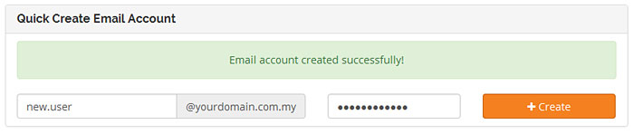 Email Account Created Successfully